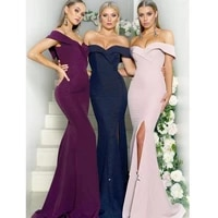 charming sweetheart off the shoulder bridesmaid dresses mermaid long maid of hornor dress custom made split wedding guest gowns