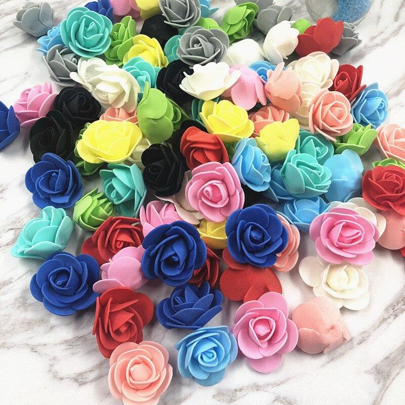 20 piezas 3cm PE Rosa cabeza Mini espuma flores artificiales rosas hogar boda coche decoraciones flores rosas falsas para bordado ramo