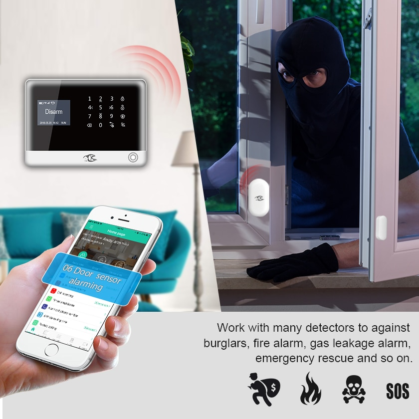 Smarsecur  IOS Android APP Control Wireless Home Security GSM SIM Card Alarm System Smoke Detector enlarge