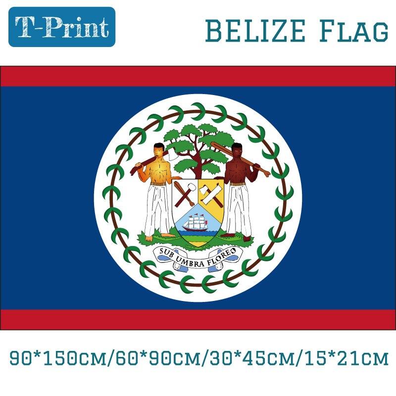 Bandera Nacional de Belize, 90x150cm, 60x90cm, 40x60cm, colgante volador, 15x21cm, Bandera de mano, arandelas de latón con impresión Digital de 3x5 pies