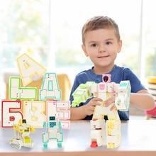 6 개/대 러시아어 변환 알파벳 로봇 빌딩 블록 조립 변형 로봇 액션 그림 장난감 어린이위한 크리스마스 선물