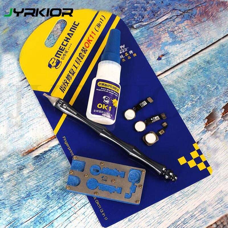 Jyrkior 3 en 1 para iPhone 6/6 S/7/8/8 Plus botón de inicio toque la huella dactilar Cable reparación abrelatas cuchillo + pegamento + kit de herramientas de soporte