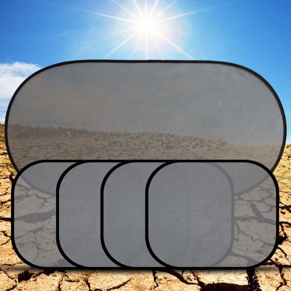 5Pcs/Set Black Pinstripe Mesh Car Sun Visor Shield Front/Back/Side Window Screen Windshield Sunshade Sunvisor Auto Accessories