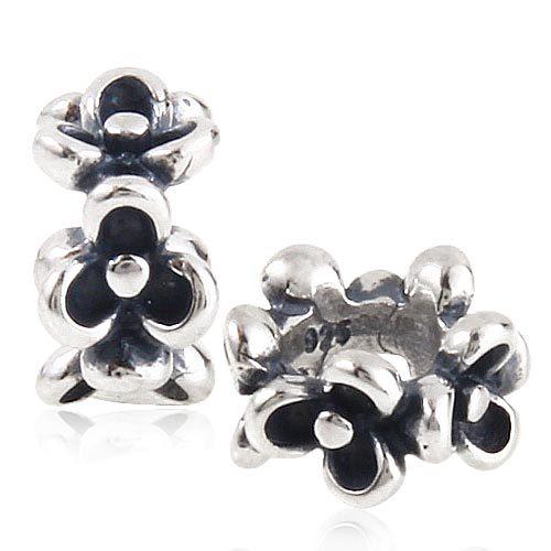 100% Plata de Ley 925 espaciador de cuentas de flores DIY fabricación de joyas se adapta a las pulseras de Pandora SS2949 al por mayor
