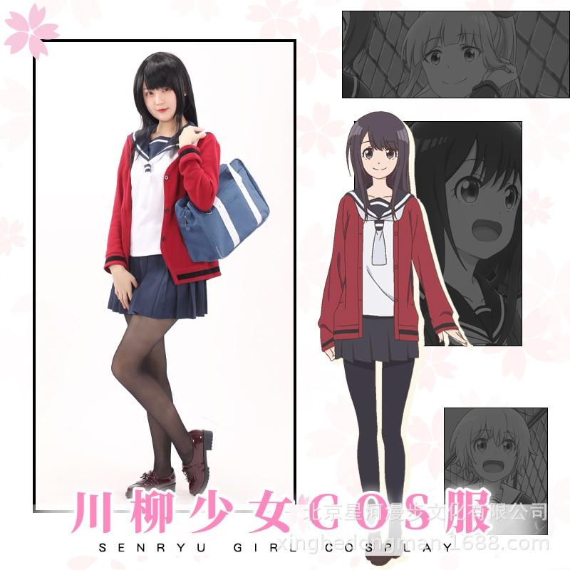 Anime Senryu chica falda Cosplay Busujima Eiji disfraz niña uniforme escolar rojo abrigo marinero traje Falda plisada peluca bolsa conjuntos