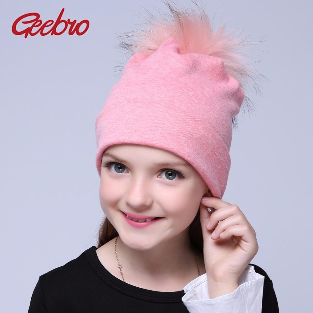 Boinas femeninas marca geebro Gorro con pompón de lana de otoño para niñas, gorro pompón de pelo de mapache abrigado de algodón informal para niñas, Gorro con pompón GS020