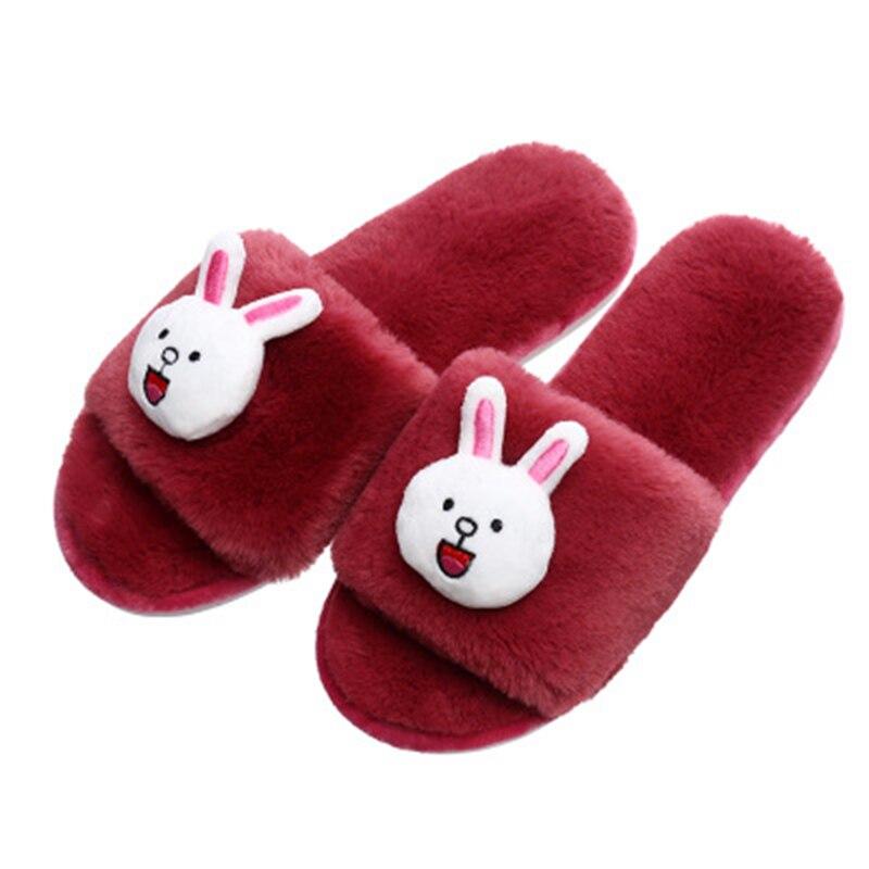 ¡Promoción de 2019! nuevas zapatillas de algodón con tacón plano, zapatos para el hogar de Primavera/otoño, zapatos informales antideslizantes de dibujos animados para interiores con mujer