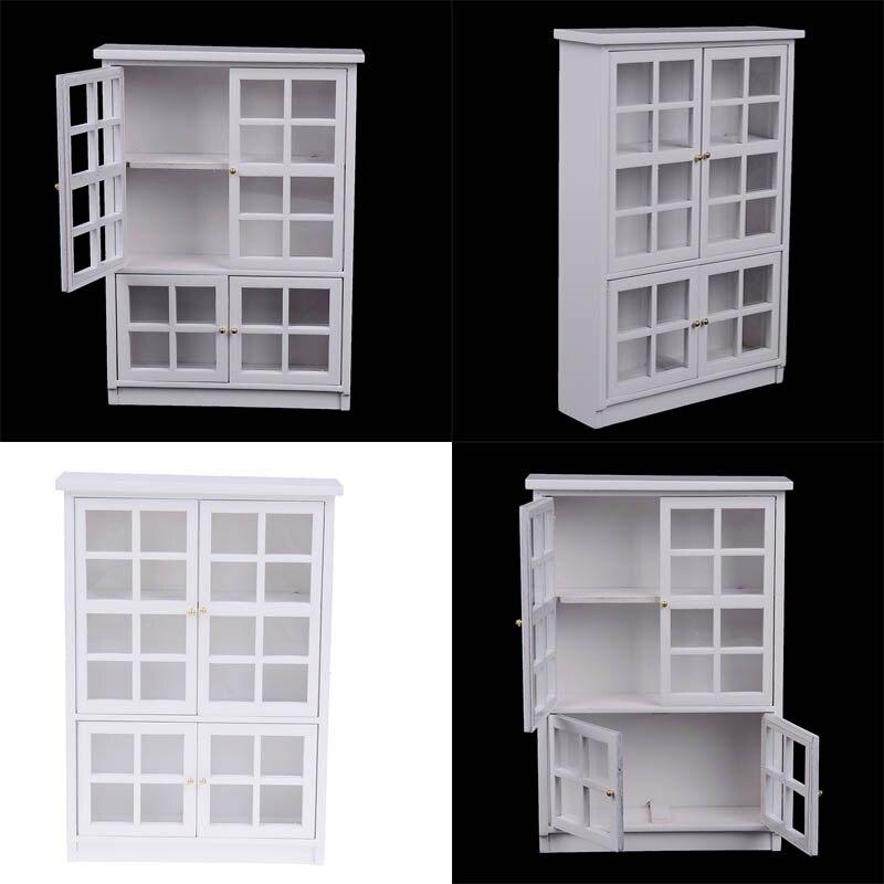 1pc Cabinet Doll House Kitchen Dollhouse Kitchen Cabin Room Miniatures 112 DIY Accessorie Furniture Kit Model White Gate Door