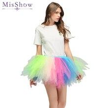 2019 Tulle Skirts Womens Elastic Stretchy Costumes Tulle Teen Layers Summer Womens Rainbow Adult Tutu Skirt Pleated Mini Skirts