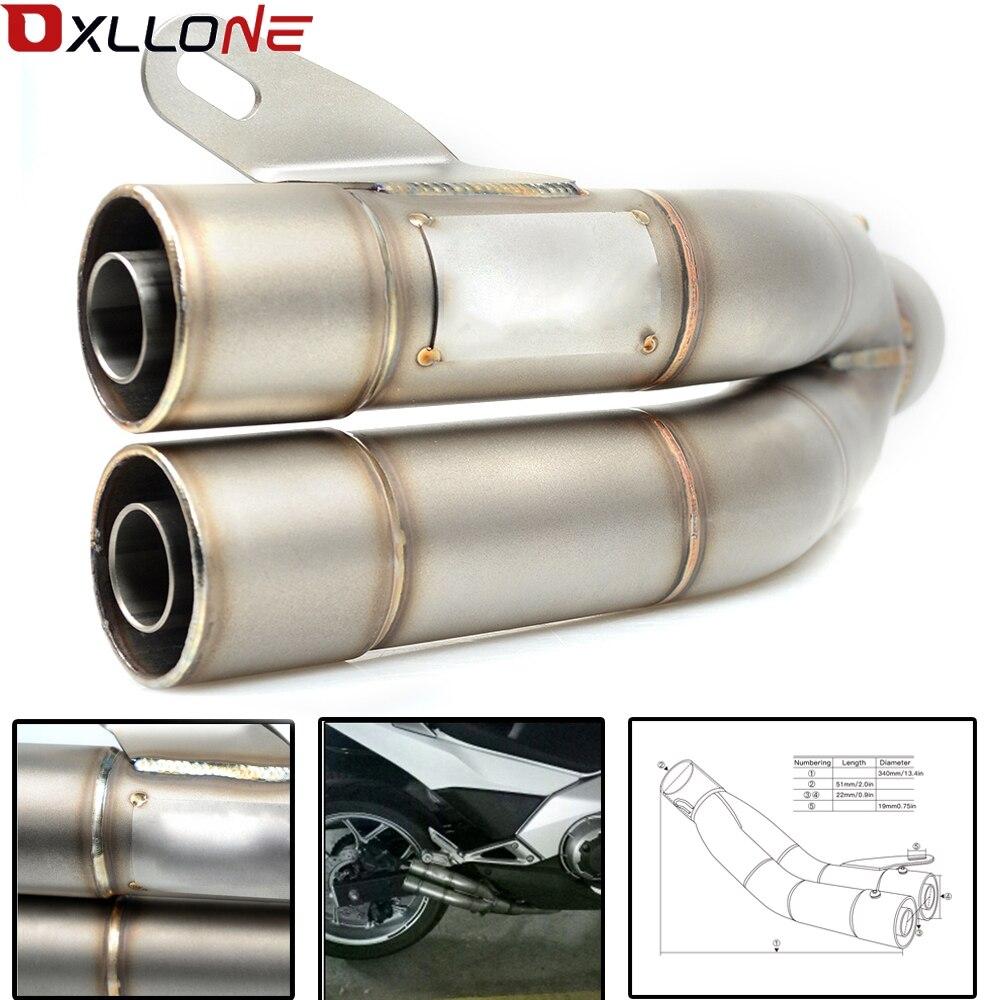 Tubo silenciador de escape doble Universal para motocicleta para la mayoría de las motocicletas para 35-51mm CBR600 CBR100 MT07 Z800 ninjia er6n z1000