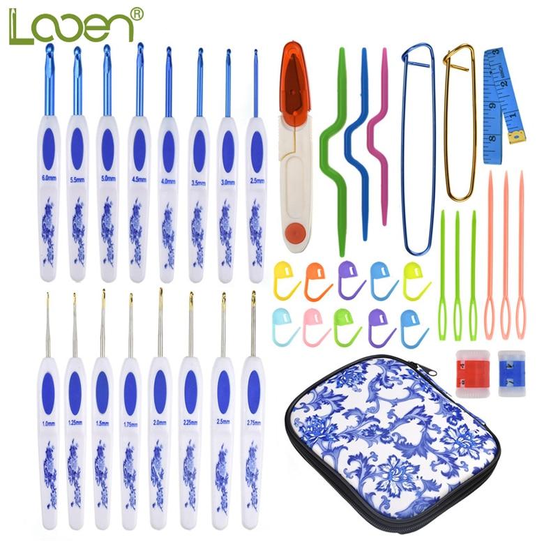 Looen crochê ganchos conjunto 16 pçs mix 1.0-6.0mm de alumínio agulhas de crochê com saco camisola tricô ganchos agulhas conjunto