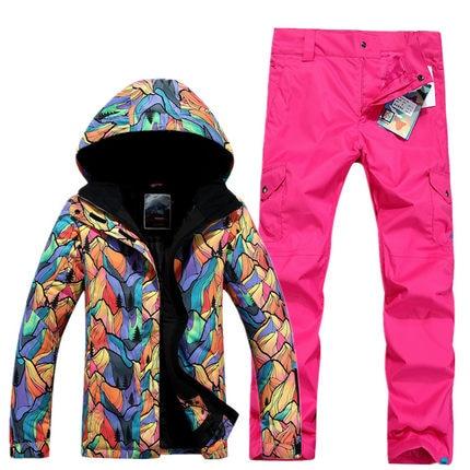 GSOU SNOW Women's Single Double Board Ski Suit Outdoor Thick Warm Waterproof Ski Jacket +Ski Trousers Size XS-L