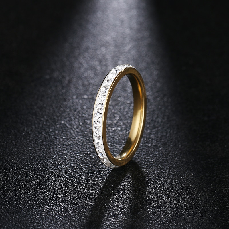 DOTIFI  316L Stainless Steel Rings For Women Gold Color Crystal Engagement Wedding Ring Jewelry