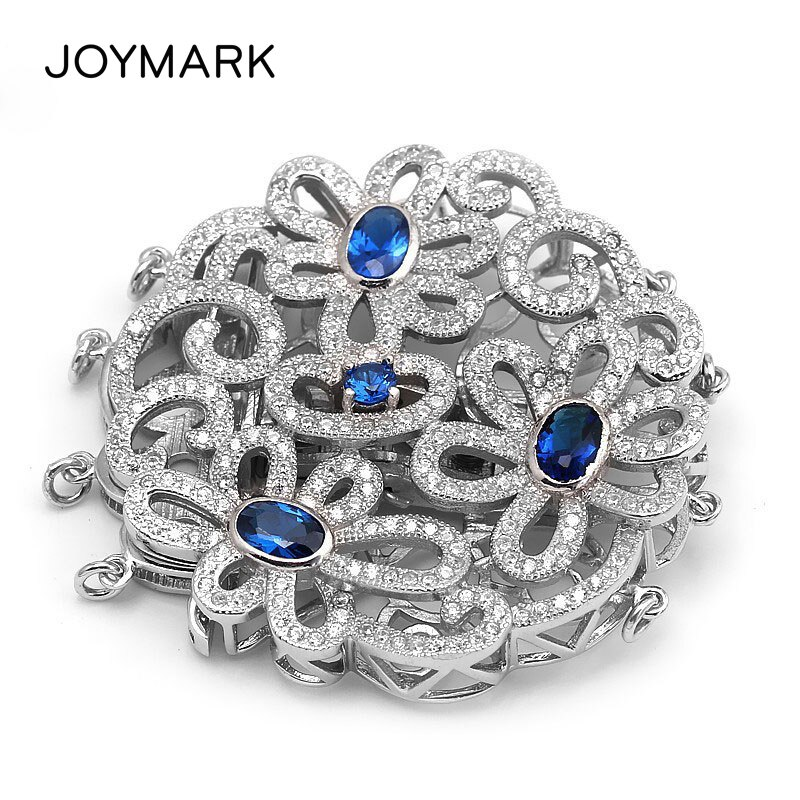 Round Flower Garland 925 Sterling Silver Pendant Connector Micro Pave Zircon 4 Strands Silver Clasp For Pearl Necklaces SC-CZ024