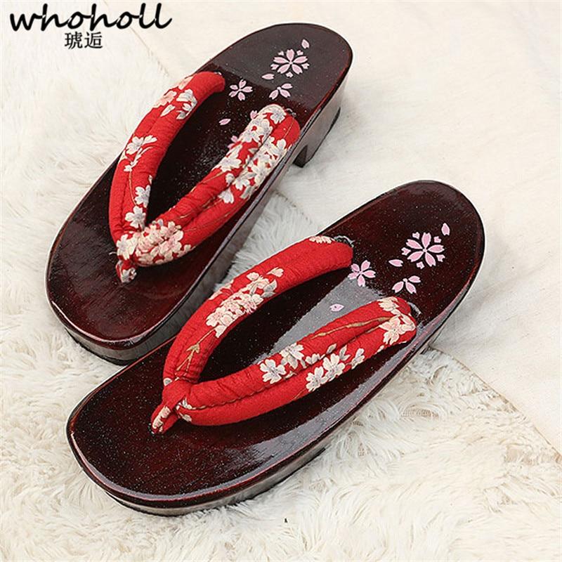 Whholl Geta-حذاء نسائي خشبي غير قابل للانزلاق ، صنادل صيفية ، قباقيب يابانية ، شبشب نسائي ، تصميم كرتوني ، إسفين EVA