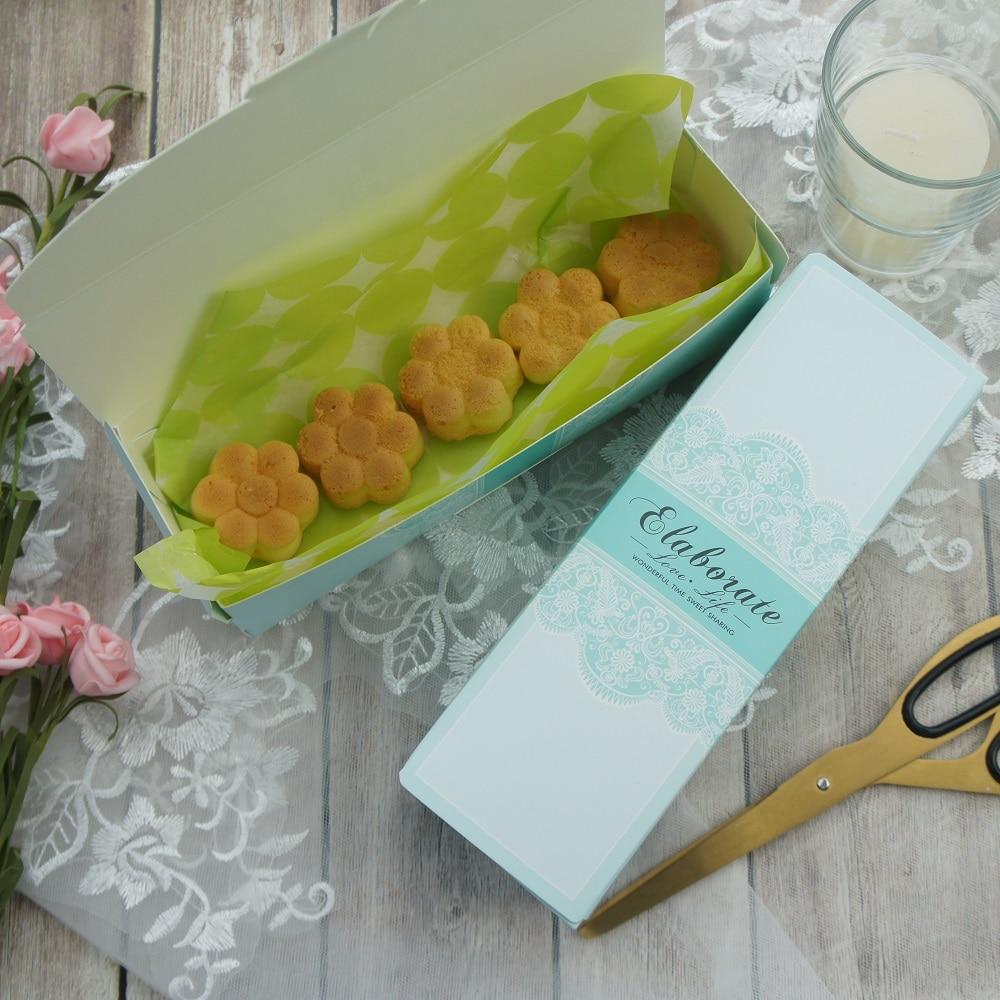 21,5*7,2*5 cm 10 Uds. Encaje verde azul diseño de amor macarrones galleta caramelo Chocolate caja de papel boda cumpleaños paquete para regalos de fiestas