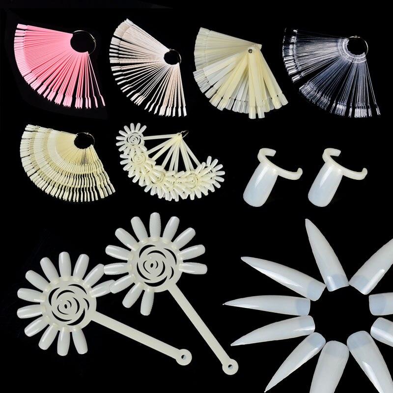 ZKO uñas postizas Color tarjeta Nail Art práctica herramienta de visualización Hebilla blanca transparente anillo herramientas de manicura