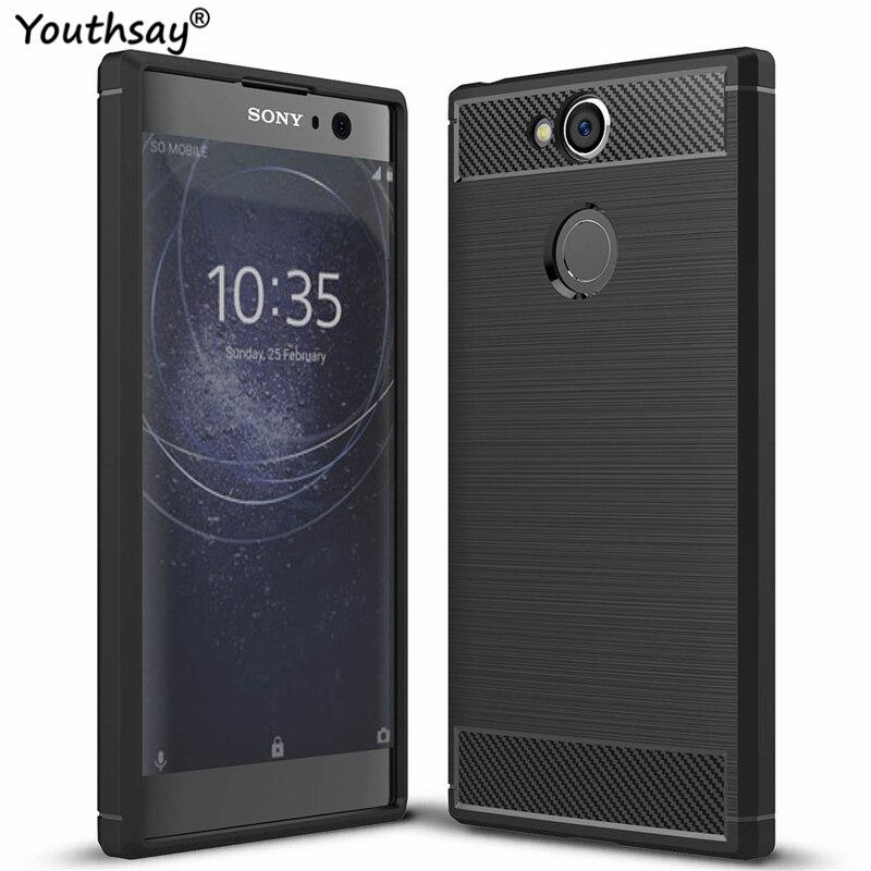 Para la cubierta de Sony Xperia XA2 funda de silicona de fibra de carbono armadura de protección de TPU funda de teléfono para Sony Xperia XA2 contraportada Youthsay