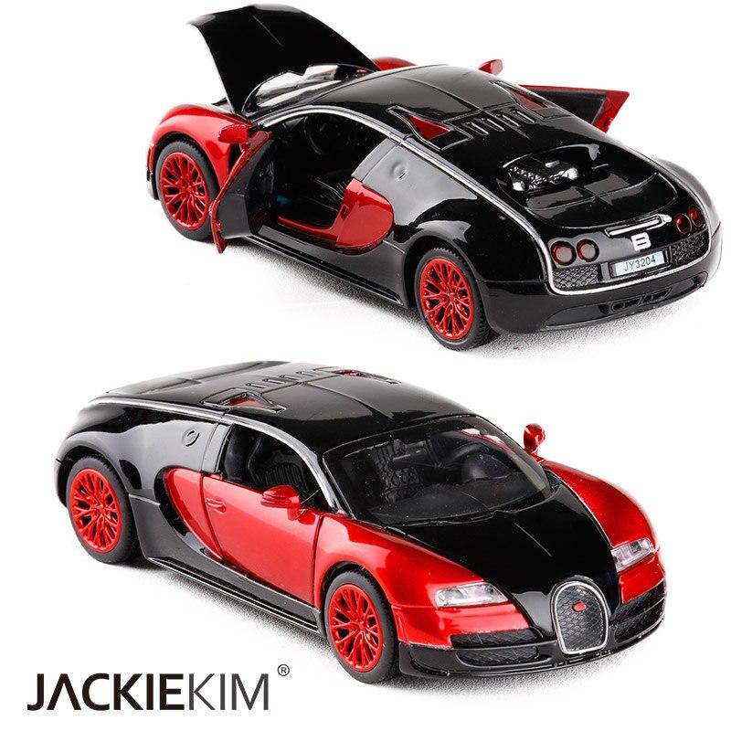 Gran simulación 132 Bugatti Veyron, coche de carreras en miniatura de aleación acústica, vehículos ópticos, coche Matal, coche clásico, regalos para niños