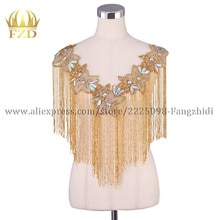 FZD 1 pieza borla de oro ropa de cuentas de diamantes de imitación apliques parches con gasa para boda pegatinas de vestir ropa