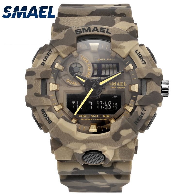 SMAEL Camouflage Military Watch Sport Watches Led Quartz Clock Men Sport Wristwatch Mens Army Clock Waterproof Montres Homme