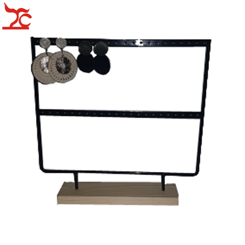 44 Holes Wood Earring Jewelry Organizer Holder 2 Layer Stud Necklace Bracelet Jewelry Display Storage Stand Fashion Earring Rack