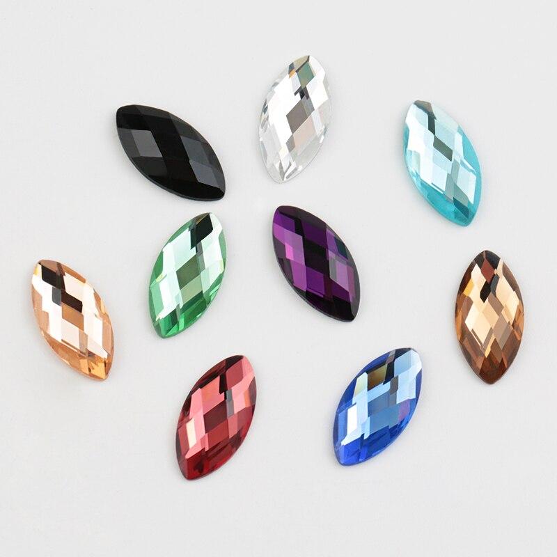 Ojo de caballo QIAO 6*12mm/7*15mm/9*18mm diamantes de imitación de cristal de fijación no caliente, piedra de cristal, ropa de diamantes de imitación con parte posterior plana
