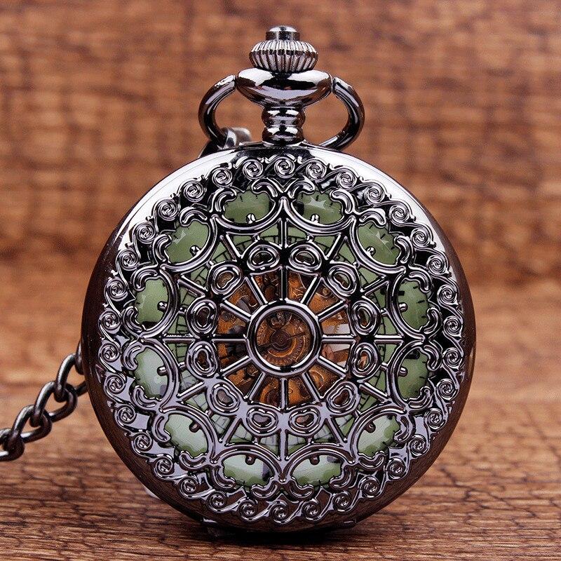 Moda única flor calada Steampunk Acero inoxidable Reloj de bolsillo mecánico colgante Fob cadena hombres mujeres relojes para regalo