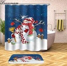 christmas shower curtain Home Decor Santa Claus Shower Curtain Bath 3D Waterproof Bathroom Curtain or mat