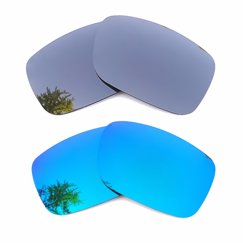 Silver Mirrored & Ice Blue Mirrored Polarized Replacement Lenses for Crankshaft Frame 100% UVA & UVB