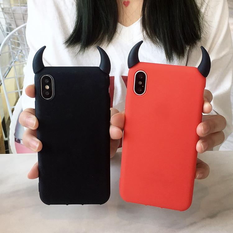 Funda roja negra de silicona suave para iPhone X XS MAX XR 7 8 Plus 6 6S 6P 11 pro max fundas de TPU demonio cuernos cubierta angular