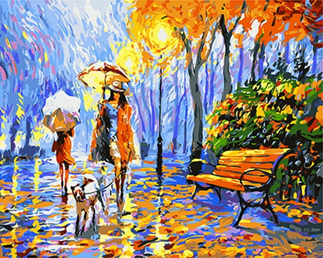Pintura sem moldura por números pintura por número de PBN home decor para sala de estar 4050 parque na chuva