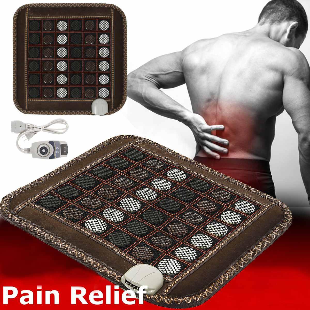 Colchoneta de masaje con calor Jade Natural turmalina infrarroja almohadilla de asiento de piedra alivio del dolor Relax terapia Mat espalda hombro pierna músculo cuerpo