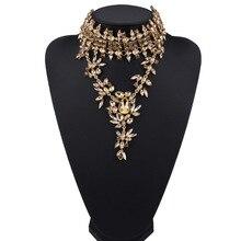 Nouveau Maxi collier en cristal collier ras du cou couleur or fleurs conception déclaration collier pendentifs pour femmes bijoux cadeaux en gros