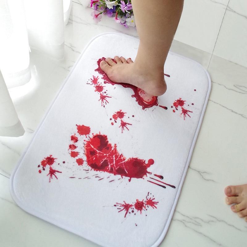 Alfombra con huellas del pie en sangre, tapete para baño, Alfombra de absorción antideslizante de agua, alfombras nuevas y de alta calidad para baño, alfombras de cocina