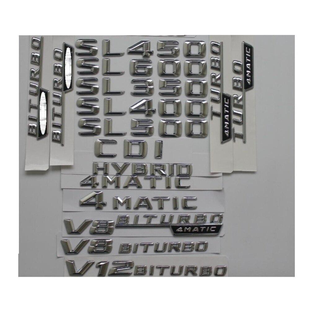 Хромированный Пластиковый Багажник, задние буквенные эмблемы, эмблемы, наклейки для Mercedes Benz SL350 SL400 SL280 SL300 SL500 SL600 CDI 4matic