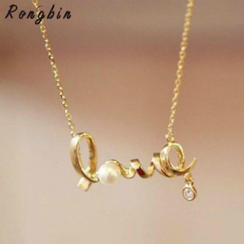 2017 Christmas Gift Vintage Jewellery Gently Around A Heart Of Love Chic LOVE Necklace Colares Femin