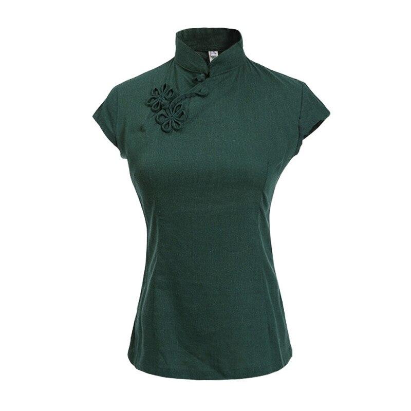 Camisa de manga corta de lino y algodón para mujer, color verde liso, blusa china con cuello mandarín, novedad en Tops con botones S -XXL MU473