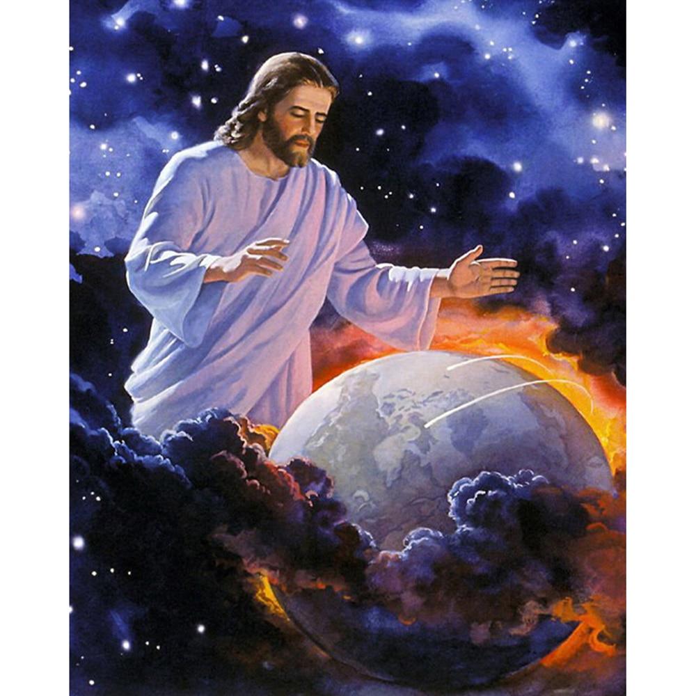 Artesanía bordada 5D Diy pintura de diamante punto de cruz Jesús proteger tierra cristiano Dios Kit cuadrado completo decoración del hogar imagen