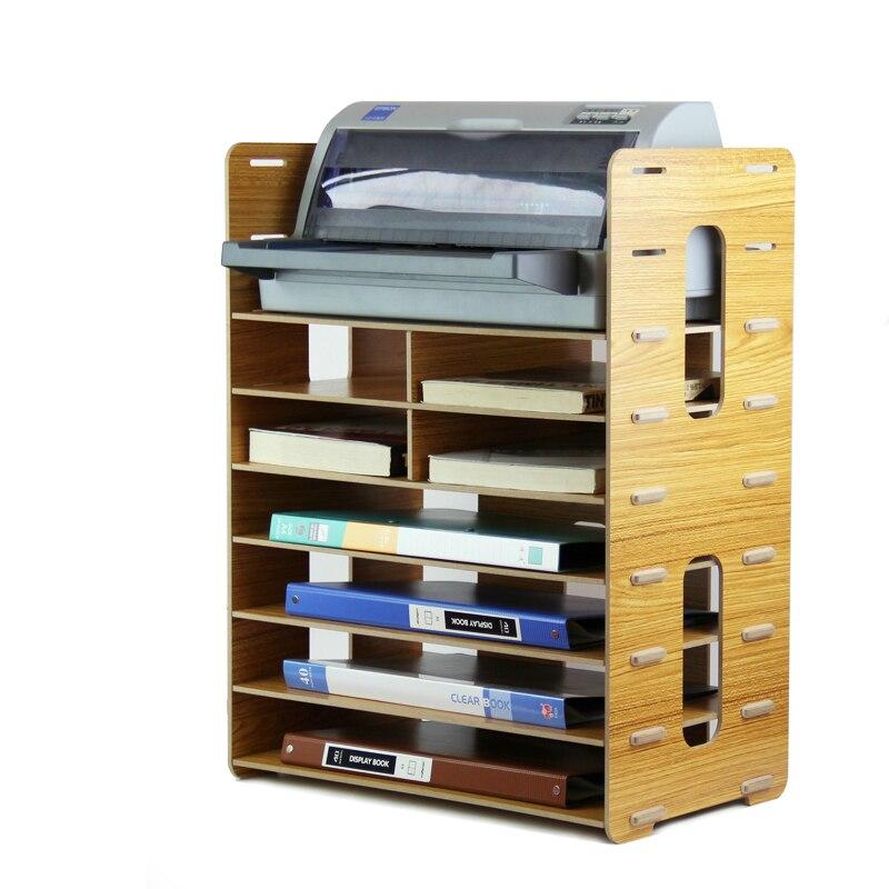 Estante de madera multifunción archivador estante grueso bandejas de documentos Multi-capas escritorio estante para impresora suministros de oficina