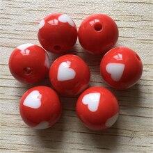 (Wählen größe) 16mm/12mm/20mm rot farbe chunky acryl gedruckt Schöne herz form dots perlen für halskette machen.