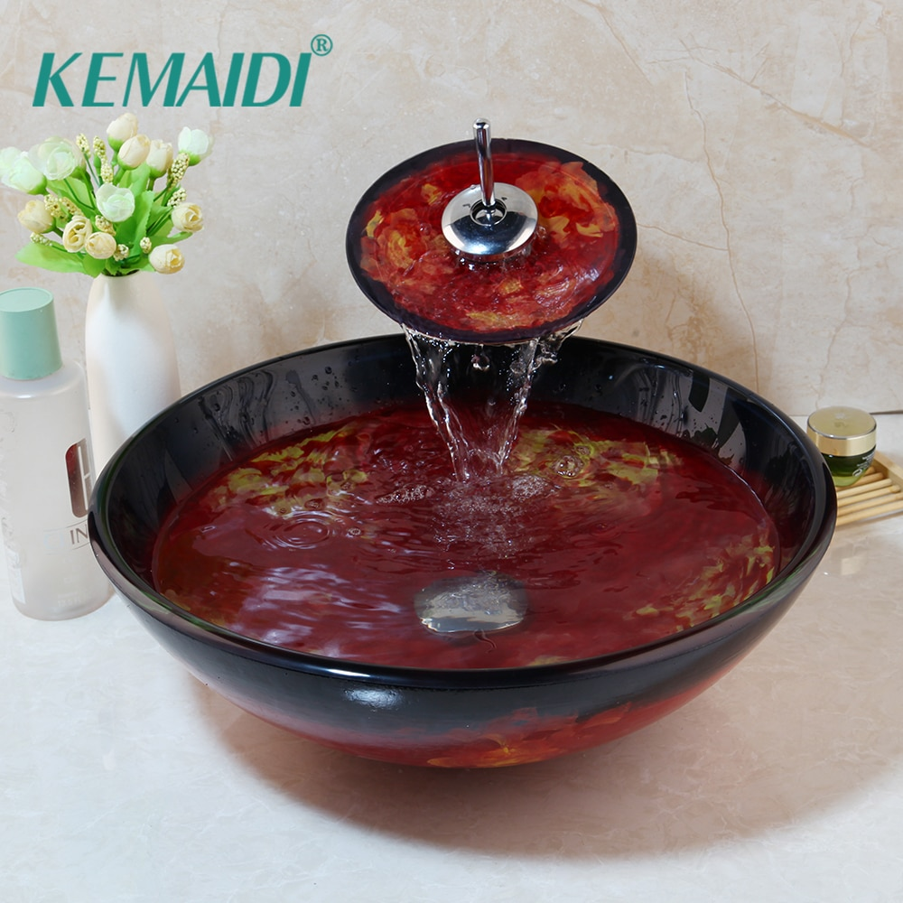 KEMAIDI-طقم حوض زجاجي مقسّى على الطراز الأوروبي ، طلاء يدوي ، تشطيب مصقول