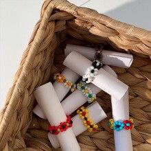Fashion Trendy Korean Original Bohemia Multi-color Small Flowers Rice Beads Ring Women Girl Jewelry Handmade Weave Style Ring