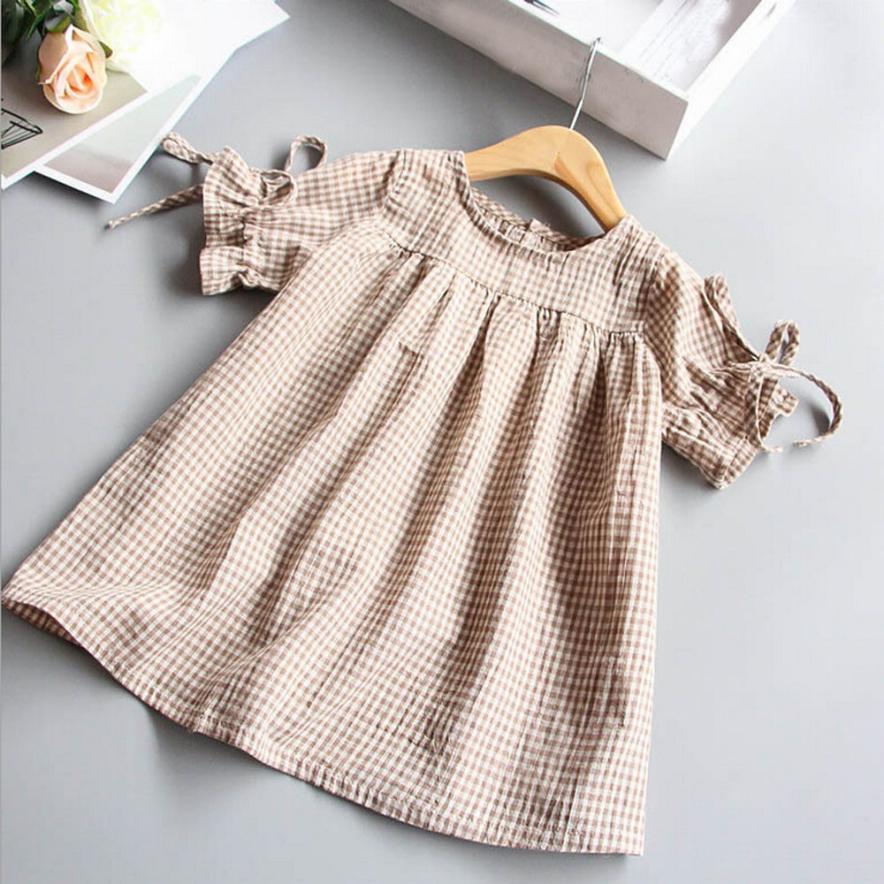 Ropa para bebés y niñas, camiseta a cuadros con lazo, Tops, vestidos de fiesta de princesa, 11 de agosto