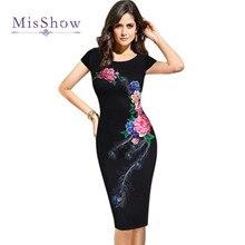 MisShow élégant Floral imprimé robe crayon tunique femme foulard de tête pour femme dames décontracté partie moulante bureau robe grande taille