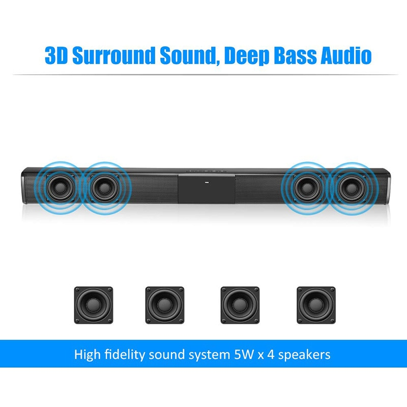 20W TV Sound Bar Wired and Wireless Bluetooth Home Surround SoundBar for PC Theater TV Speaker enlarge