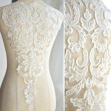 Robe de mariée en dentelle blanche   Dentelle, perles faites à la main, 3D, Applique, coiffure de mariée, Patch en dentelle ivoire, col en dentelle blanche, bricolage