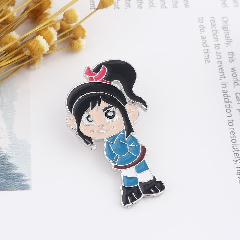 Movie Wreck-It Ralph Pins Brooch Cartoon Figure Vanellope von Schweetz Badge Brooch for Women Christmas Gift Lapel pin Jewelry