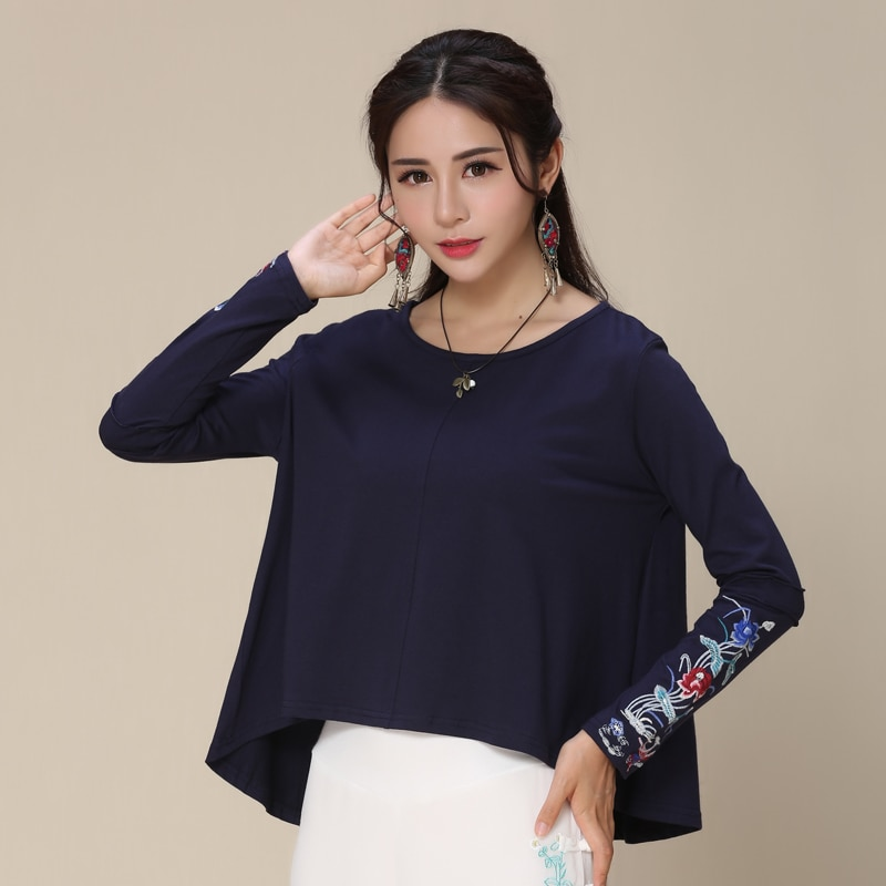 Camiseta étnica KYQIAO, camiseta de verano para mujer, diseño original de estilo mexicano, manga larga, verde oscuro, Azul, Naranja, bordado, camiseta lisa