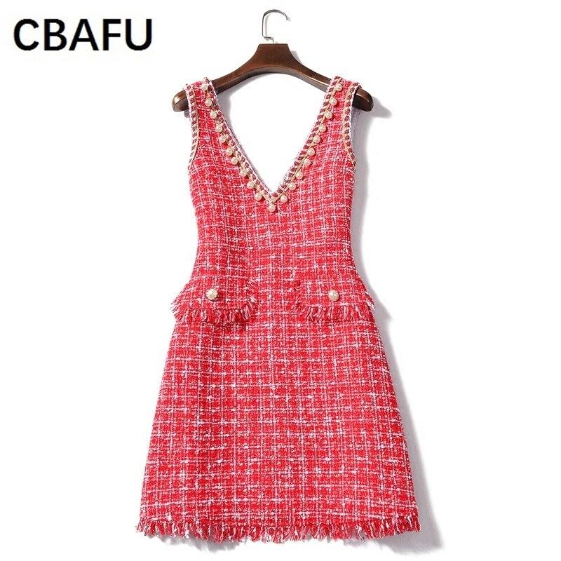 CBAFU red pearls women dress brand femme vestidos v neck 2018 new spring tweed woolen party dress runway vest mini dress X499